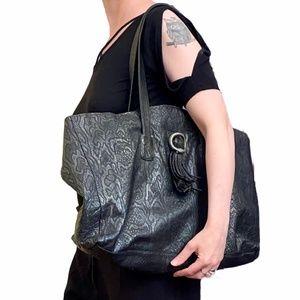 RARE Vtg Charivari Black Snake Shopper Tote Bag